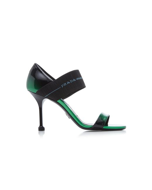 85e311dbe886 Lyst - Prada Patent Leather Sandals in Green - Save 60%
