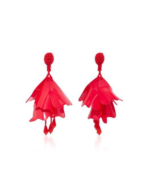 Oscar de la Renta | Red Impatiens Resin Clip Earrings | Lyst