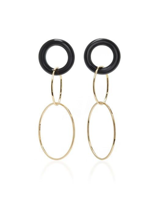 Mateo - White 14k Gold And Onyx Earrings - Lyst