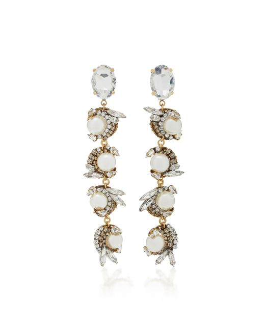 Erickson Beamon | White Delicate Balance 24k Gold-plated Crystal And Pearl Earrings | Lyst