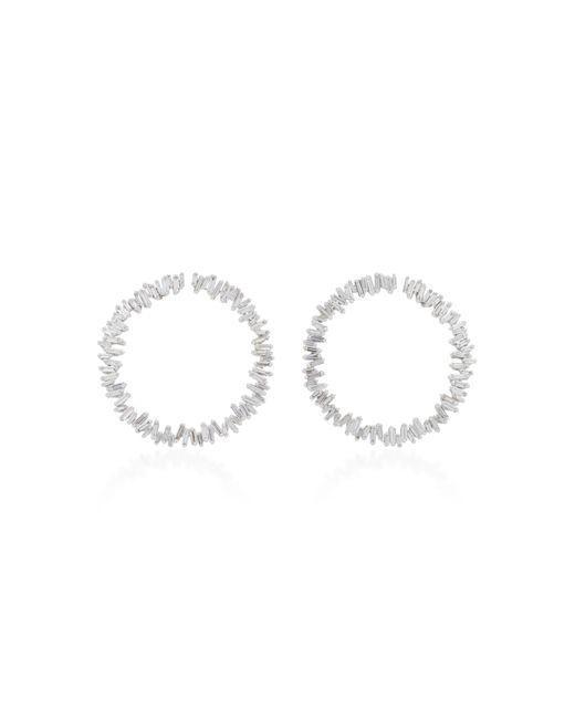 Suzanne Kalan | Spiril Circle 18k White Gold Diamond Earrings | Lyst