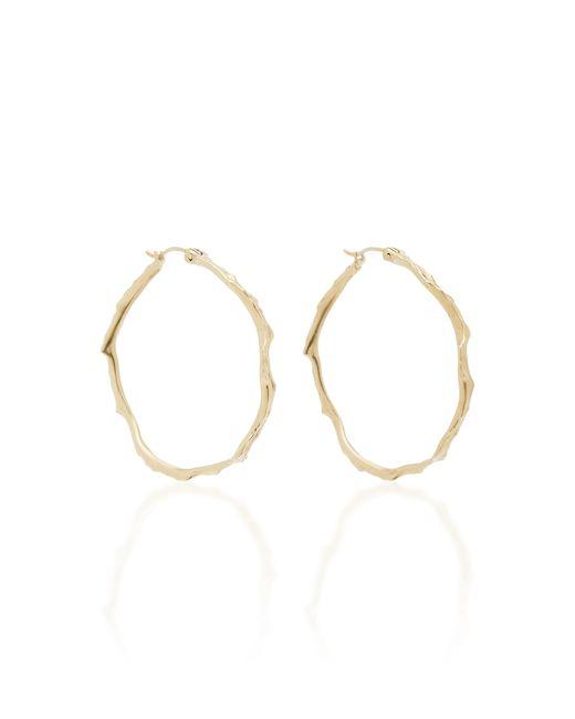 Annette Ferdinandsen - Metallic Coral Stick 14k Gold Diamond Hoop Earrings - Lyst