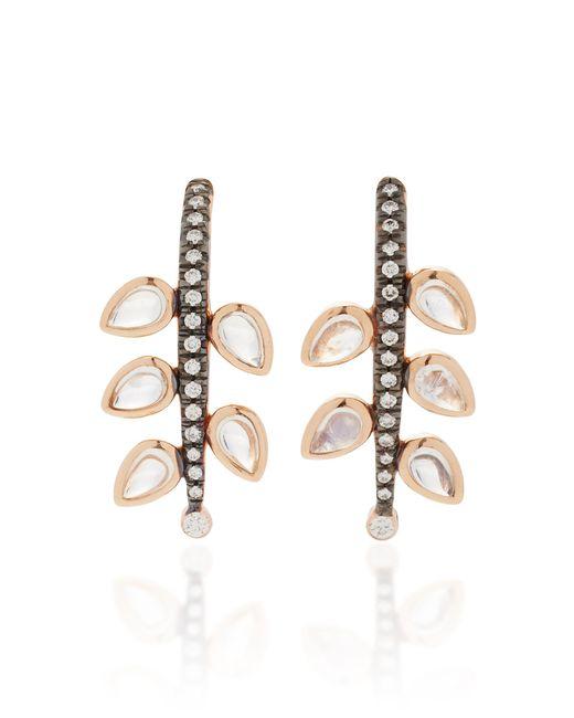 Misahara | Metallic Weeping Willows 18k Rose Gold, Rainbow Moonstone And Diamond Earrings | Lyst