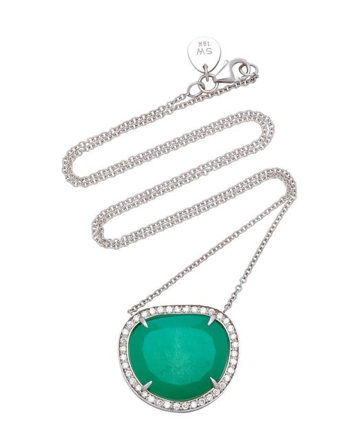 Sara Weinstock - Green 18k White Gold, Chrysoprase And Diamond Necklace - Lyst