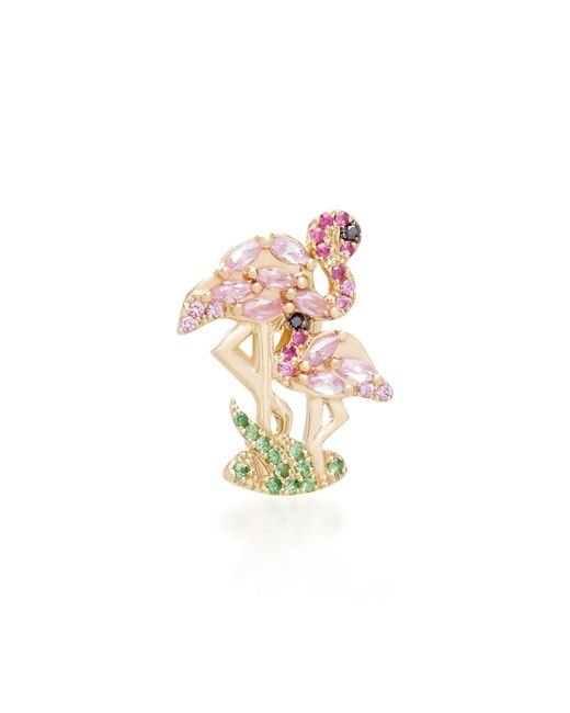 Yvonne Léon - Pink Flamingo 18k Gold, Diamond And Tsavorite Single Earring - Lyst