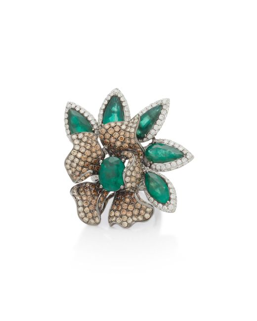 Wendy Yue - Green 18k White Gold, Emerald And Diamond Ring - Lyst