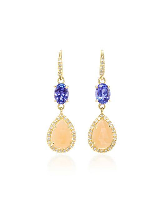 Lauren K | Metallic 18k Gold, Tanzanite, Moonstone And Diamond Earrings | Lyst