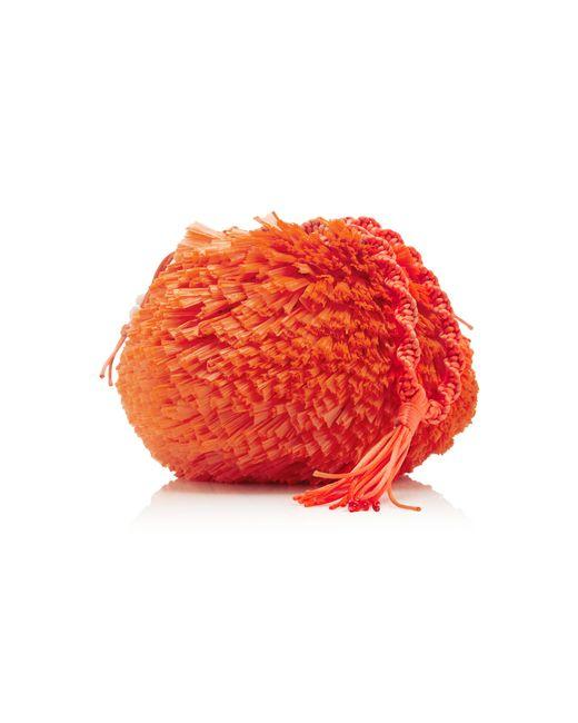 Carolina Santo Domingo | Orange Uni Embellished Raffia Bag | Lyst