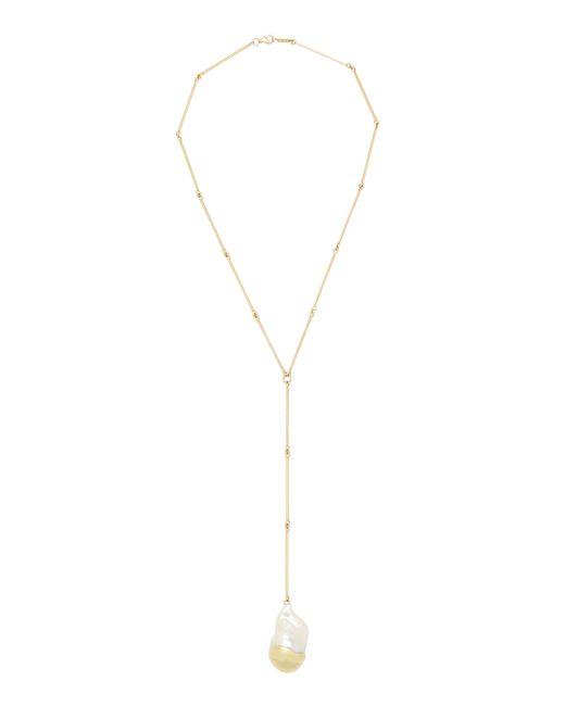 Mizuki - White Short Fluid Diamond And Pearl Linked Rod Necklace - Lyst