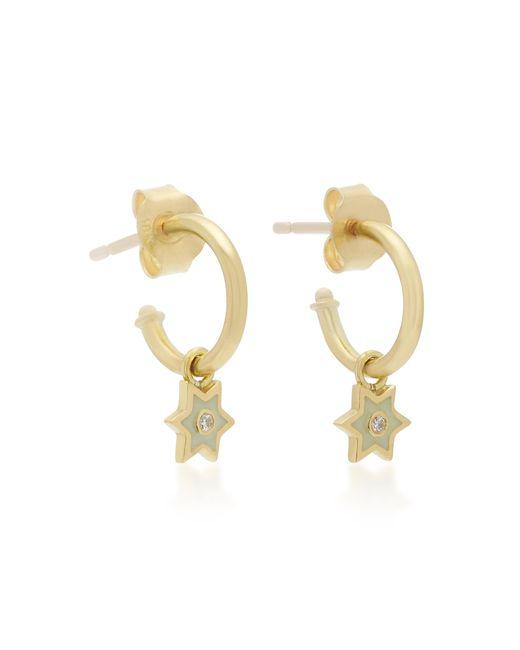 Amrapali - White 18k Gold And Diamond Mini Star Hoop Earrings - Lyst