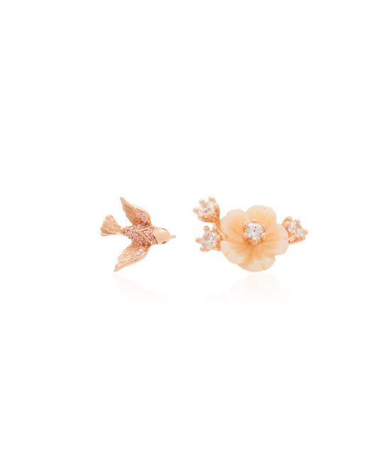 Anabela Chan - Pink Rose Swallow Mismatched Mother Of Pearl Stud Earrings - Lyst