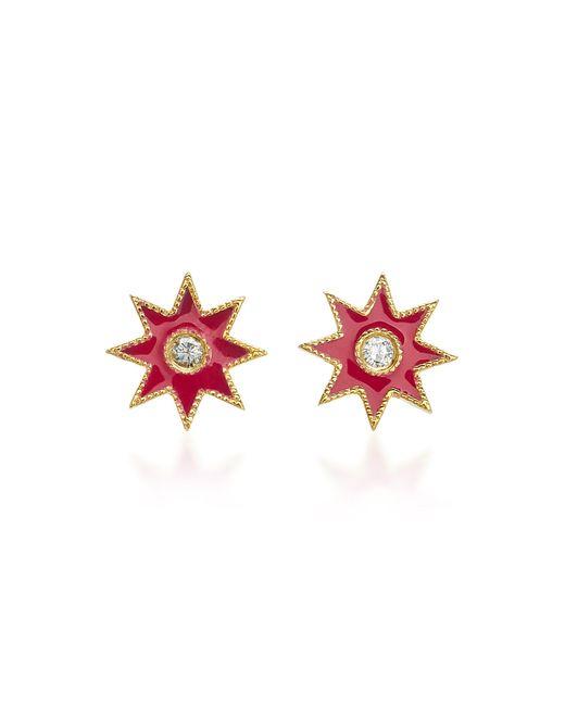 Colette - Pink Star 18k White Gold, Enamel And Diamond Earrings - Lyst