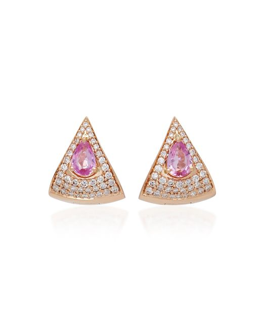 Hueb - Spectrum 18k Rose Gold Diamond And Pink Sapphire Earrings - Lyst