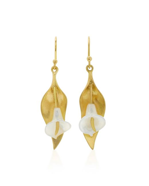 Annette Ferdinandsen | Metallic Cala Lily 18k Gold Mother Of Pearl Earrings | Lyst
