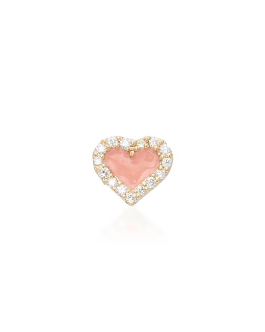 Alison Lou - Orange Coral Heart 14k Yellow Gold And Diamond Studs - Lyst