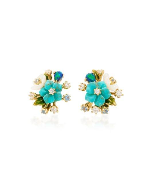 Anabela Chan - Blue Turquoise Bouquet Earrings - Lyst