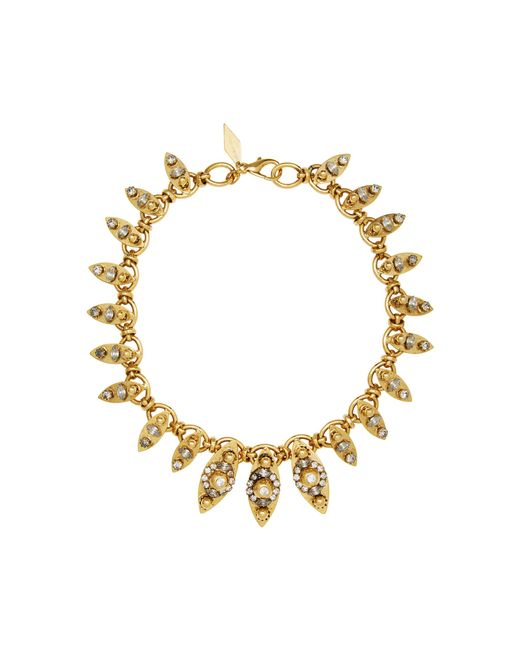 Nicole Romano - Metallic 18k Gold-plated Crystal-embellished Marquis Necklace - Lyst