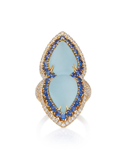 Sara Weinstock - Blue 18k Gold, Aquamarine, Sapphire And Diamond Ring - Lyst