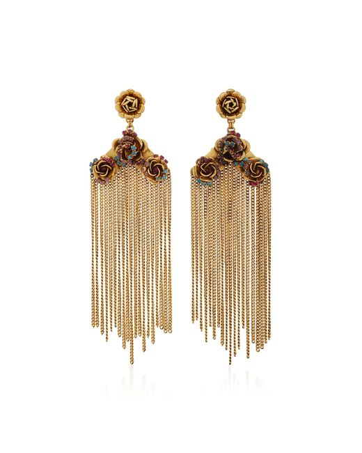 Erickson Beamon | Metallic Vermeil Bouquet 24k Gold-plated Crystal Fringe Earrings | Lyst