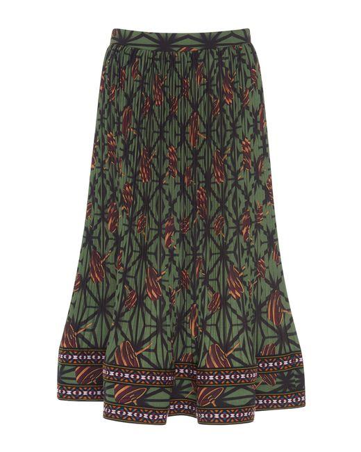 stella jean micro pleated flared skirt in green lyst