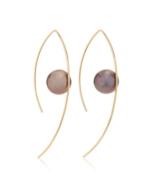 Mizuki   Metallic 14k Floating Marquis Tahitian Pearl Hoop Earrings   Lyst