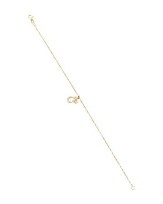 Names by Noush | White Tiny Treasures Arabic Initial Pave Bracelet | Lyst