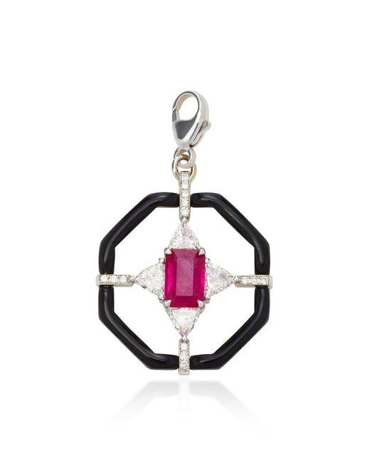 Nikos Koulis | Red Oui Black Enamel Pendant With Gemfields Ruby And Diamonds, Black Enamel And Chain | Lyst