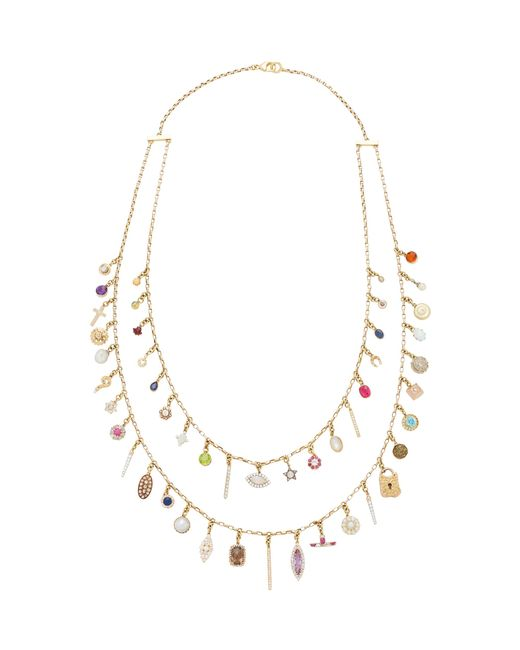 Renee Lewis   Metallic Antique Diamond And Gemstone Charms Necklace   Lyst