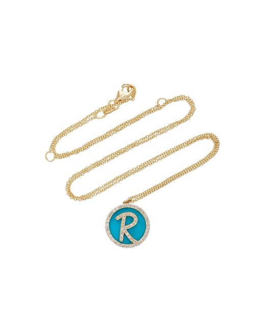 Names by Noush | Blue Treasure Disk Roman Initial Necklace With Turquoise Gemstone | Lyst