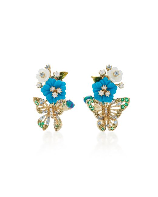 Anabela Chan | Blue Turquoise Butterfly Bouquet Earrings | Lyst