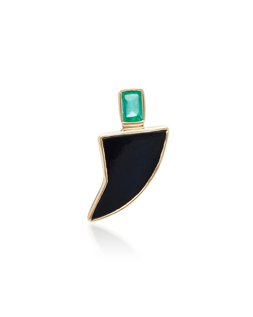 Dezso by Sara Beltran | Black Classic Shark Fin Charm With Blue Tiger Eye And Gemfields Emerald | Lyst