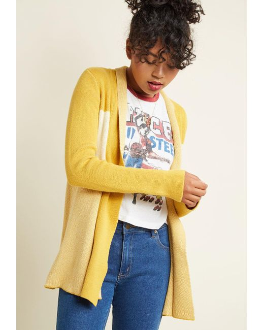 ModCloth | Yellow Simply Snuggly Colorblock Cardigan In Marigold | Lyst