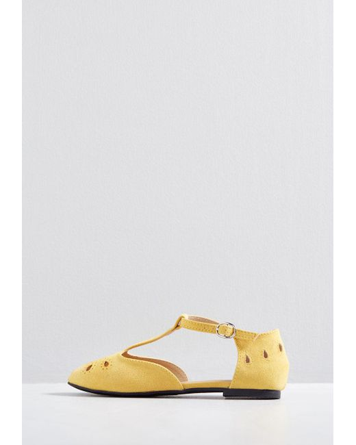 f351cc599d ... ModCloth - Yellow The Zest Is History T-strap Flat - Lyst ...