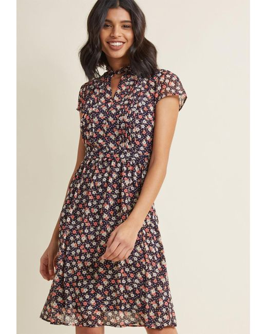 ModCloth   Multicolor Oh Say Can Museum Floral Dress In Navy Bloom   Lyst