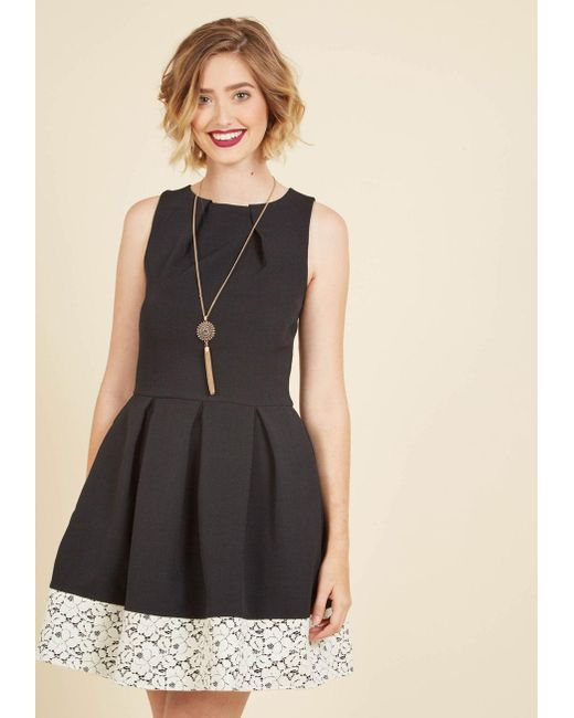 ModCloth | Luck Be A Lady A-line Dress In Black And Lace | Lyst