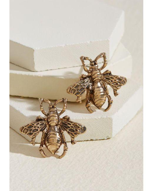ModCloth - Metallic Bee Prepared Earrings - Lyst