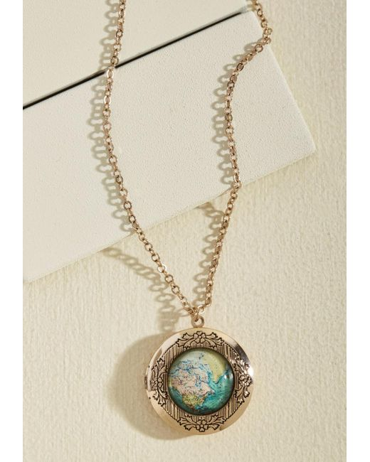 ModCloth | Metallic Map Out Of It! Necklace | Lyst
