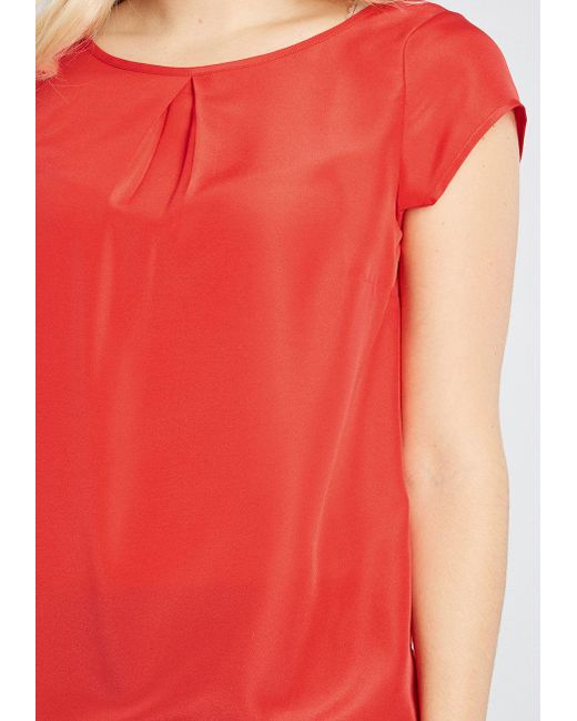 2867731690ec5 ... ModCloth - Red Graceful Expectations Cap Sleeve Blouse - Lyst ...