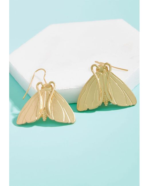 ModCloth | Metallic Mothcloth Dot Com Earrings | Lyst