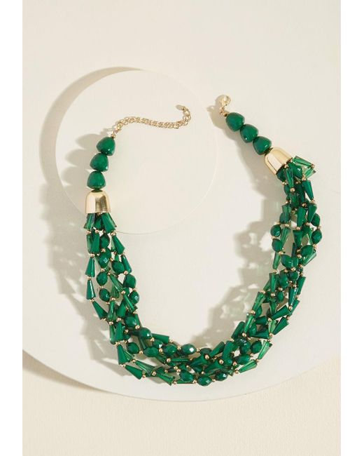 ModCloth | Green Braid Behavior Beaded Necklace | Lyst