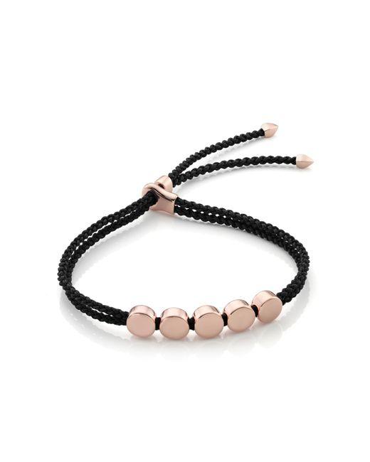 Monica Vinader - Black Linear Bead Friendship Bracelet - Lyst