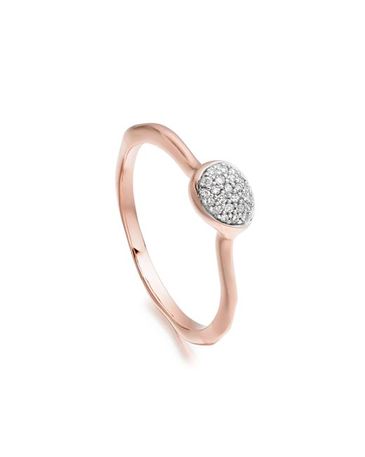 Monica Vinader | Pink Siren Diamond Small Stacking Ring | Lyst