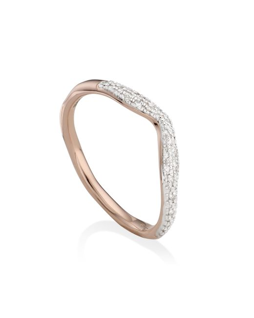 Monica Vinader - Metallic Riva Diamond Wave Stacking Ring - Lyst