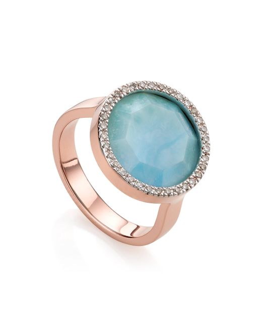 Monica Vinader - Blue Naida Circle Ring - Lyst