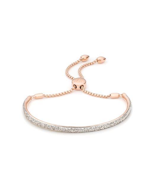 Monica Vinader | Pink Fiji Pave Bar Petite Bracelet - Diamond | Lyst