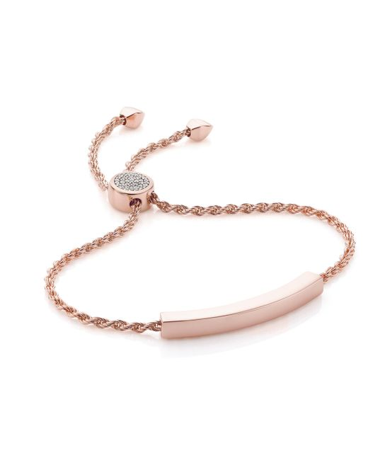 Monica Vinader - Pink Linear Diamond Toggle Chain Bracelet - Lyst