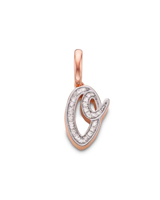 Monica Vinader - Pink Diamond Alphabet Pendant O - Lyst