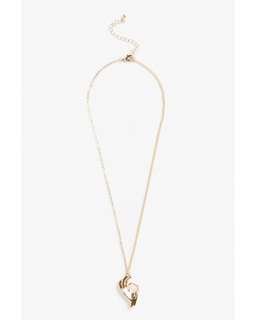 Monki   Metallic Hand Charm Necklace   Lyst