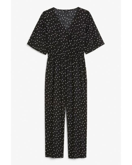 Monki - Black Short-sleeved Wrap Jumpsuit - Lyst