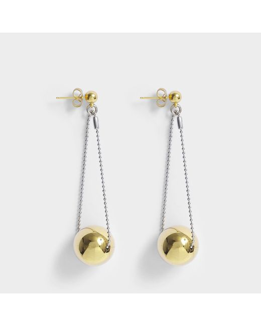 Aris Geldis - Metallic Double Dome Gold Ball Earrings In Gold-plated Brass - Lyst